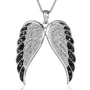 "316L Stainless Steel ""Black Tipped Wings"" Pendant Necklace - Blown Biker - 1"
