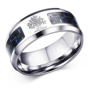 Engraved Stainless Steel Ring w/ Carbon Fiber Inlay - Blown Biker - 1
