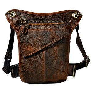 "Genuine Leather ""Drop Leg"" Motorcycale Utility Bag - Blown Biker - 6"