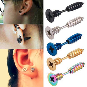 "316 Stainless Steel ""Crosshead Screw"" Earrings - Blown Biker - 1"