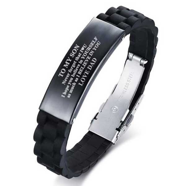 "Silicone & 316L Stainless Steel ""To My Son"" Bracelet - Blown Biker - 1"