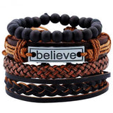 "Leather 4 Piece ""Believe"" Bracelet Set - Blown Biker - 1"