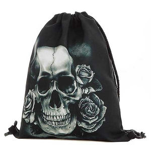 "3D Printed ""Black & White Skull"" Drawstring Bag - Blown Biker - 01"