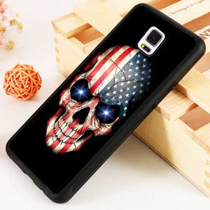 """Cracked American Skull"" Samsung Phone Case - Blown Biker - 1"