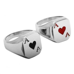 "316L Stainless Steel ""Ace Of Spades"" Ring - Blown Biker - 01"