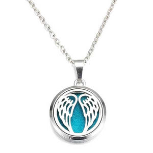 "316L Stainless Steel ""Angel Wings"" Aromatherapy Necklace - Blown Biker - 01"