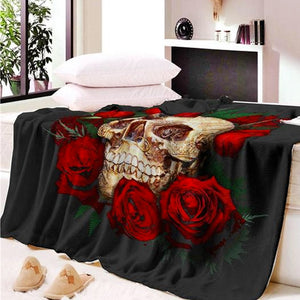 "Sherpa Fleece ""Skull & Roses"" Throw Blanket - Blown Biker - 4"