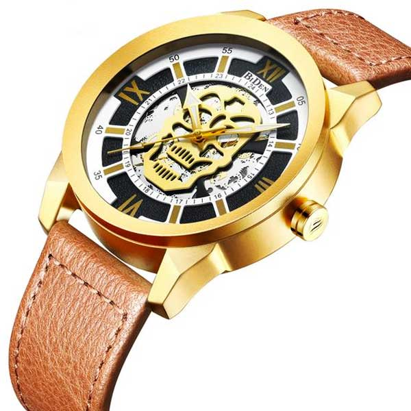 "Quartz ""Steampunk Skull"" Mens Watch - Blown Biker - 4"