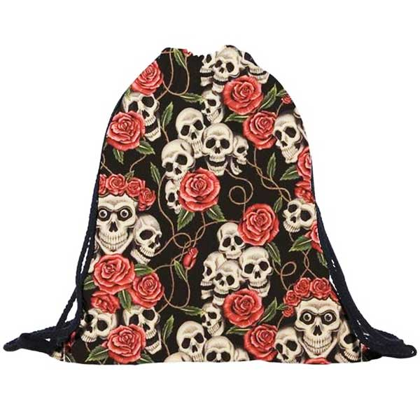 "3D Printed ""Skulls & Roses"" Drawstring Bag - Blown Biker - 1"