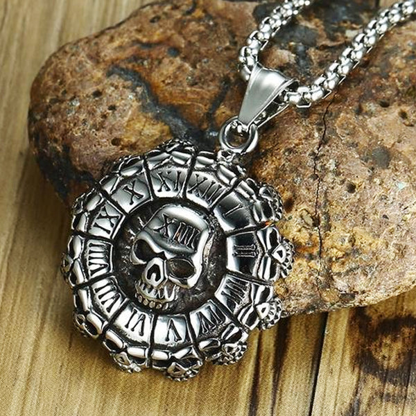 "316L Stainless Steel ""Roman Skull"" Pendant Necklace - Blown Biker - 1"
