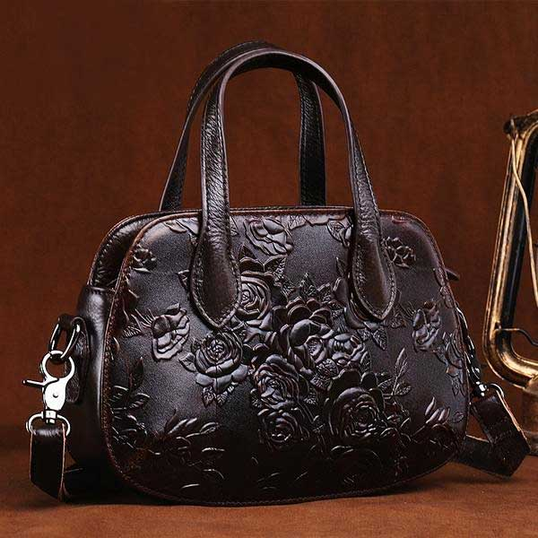 "Embossed Leather ""Roses"" Womens Handbag - Blown Biker - 1"