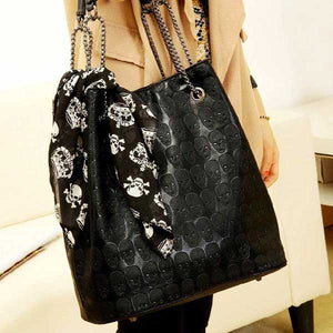 "Luxury ""Skulls"" Embossed Tote Bag - Blown Biker - 01"