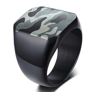 "316L Stainless Steel ""Camo Signet"" Ring - Blown Biker - 1"
