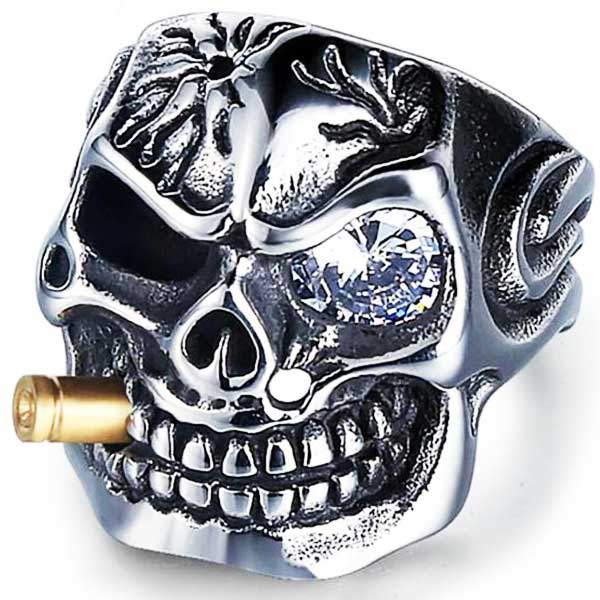 "316L Stainless Steel ""Smoking Skeleton"" Ring - Blown Biker - 3"