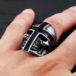 "316L Stainless Steel ""Knight Skull"" Ring - Blown Biker - 1"