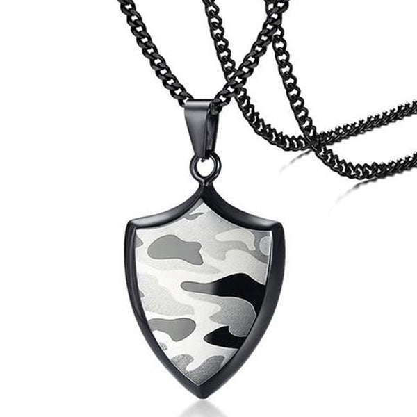 "316L Stainless Steel ""Camo Shield"" Pendant Necklace - Blown Biker - 1"