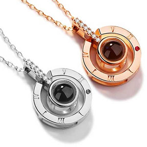 "Rose Gold ""I Love You"" Projection Pendant Necklace - Blown Biker - 1"