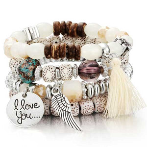 """I Love You"" Angel Wings Charm Bracelet - Blown Biker - 1"