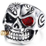 "316L Stainless Steel ""Smoking Skeleton"" Ring - Blown Biker - 4"
