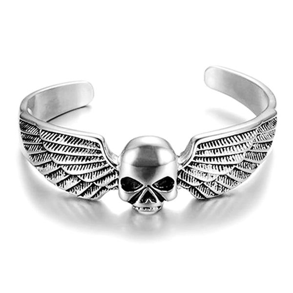 "316L Stainless Steel ""Winged Skull"" Bangle - Blown Biker - 2"