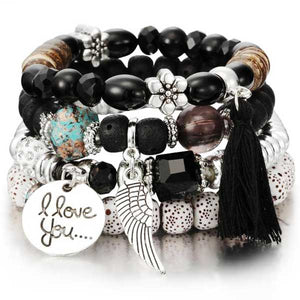 """I Love You"" Angel Wings Charm Bracelet - Blown Biker - 3"