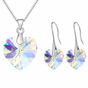 """Crystal Hearts"" Necklace/Earrings Jewelry Set - Blown Biker - 11"