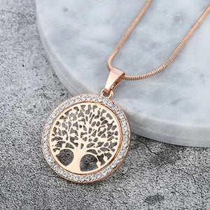 "Rose Gold ""Tree Of Life"" Pendant Necklace - Blown Biker - 1"