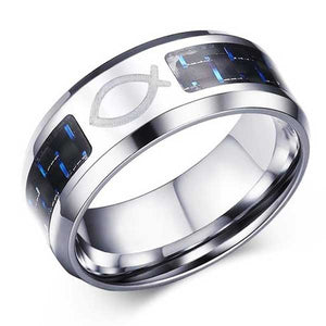 Engraved Stainless Steel Ring w/ Carbon Fiber Inlay - Blown Biker - 2