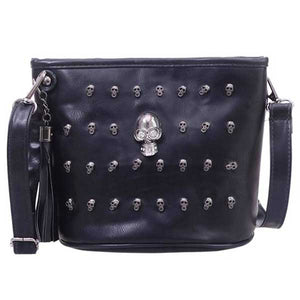 "Retro ""Grinning Skull"" Womens Shoulder Bag - Blown Biker - 5"