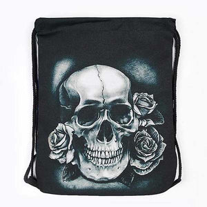 "3D Printed ""Black & White Skull"" Drawstring Bag - Blown Biker - 02"