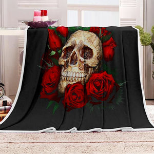 "Sherpa Fleece ""Skull & Roses"" Throw Blanket - Blown Biker - 1"