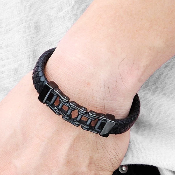 "316L Stainless Steel & Leather ""Half And Half"" Biker Bracelet - Blown Biker - 1"