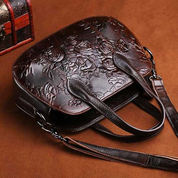 "Embossed Leather ""Roses"" Womens Handbag - Blown Biker - 2"