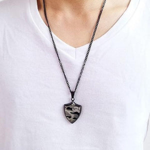 "316L Stainless Steel ""Camo Shield"" Pendant Necklace - Blown Biker - 2"