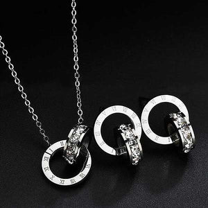 "Rose Gold ""Double Circles"" Necklace/Earring Jewelry Set - Blown Biker - 5"