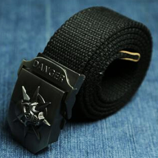 "Military ""Danger Skull"" Tactical Woven Belt - Blown Biker - 3"