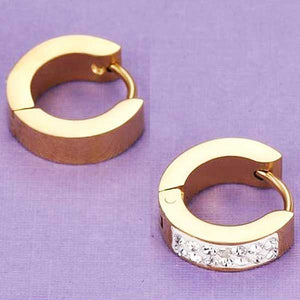 "18k Gold Plated ""CZ Hoops"" Earrings - Blown Biker - 5"