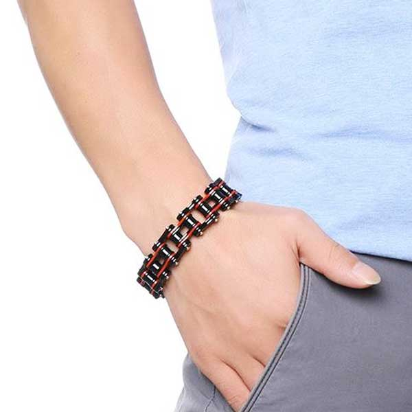"316L Stainless Steel ""Red & Black"" Biker Bracelet - Blown Biker - 2"