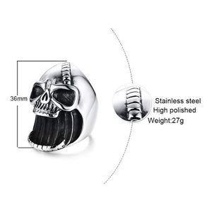 "316L Stainless Steel ""Bottled Skull"" Ring - Blown Biker - 5"