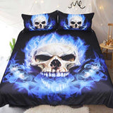"3 Piece ""Flame Skull"" Bed Set - Blown Biker - 2"