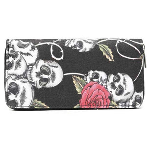 "Canvas ""Skull & Roses"" Zip Purse - Blown Biker - 01"