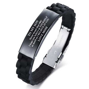 "Silicone & 316L Stainless Steel ""To My Son"" Bracelet - Blown Biker - 2"
