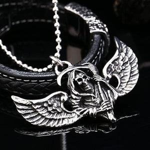 "316L Stainless Steel ""Winged Reaper"" Pendant Necklace - Blown Biker - 3"