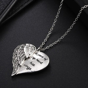 """A Piece Of My Heart Has Wings"" Angel Wings Necklace - Blown Biker - 2"