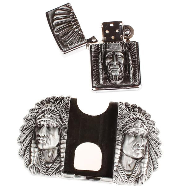 """Indian Chief"" Metal Belt Buckle with Belt & Lighter - Blown Biker - 8"