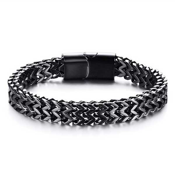 "316L Stainless Steel ""Black Wheat"" Biker Bracelet - Blown Biker - 01"