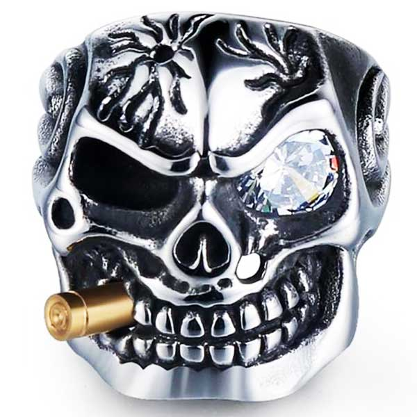 "316L Stainless Steel ""Smoking Skeleton"" Ring - Blown Biker - 1"