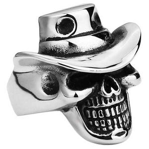 "316L Stainless Steel ""Cowboy Skull"" Ring - Blown Biker - 3"