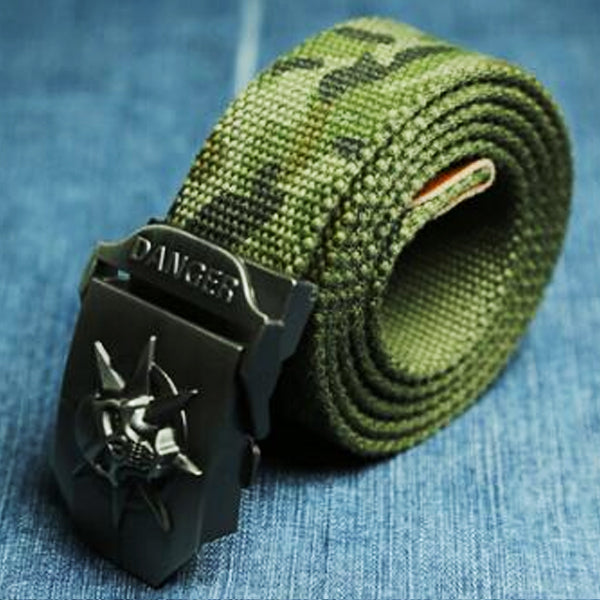 "Military ""Danger Skull"" Tactical Woven Belt - Blown Biker - 4"