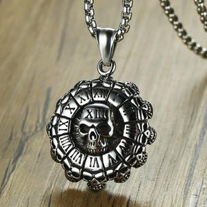 "316L Stainless Steel ""Roman Skull"" Pendant Necklace - Blown Biker - 4"
